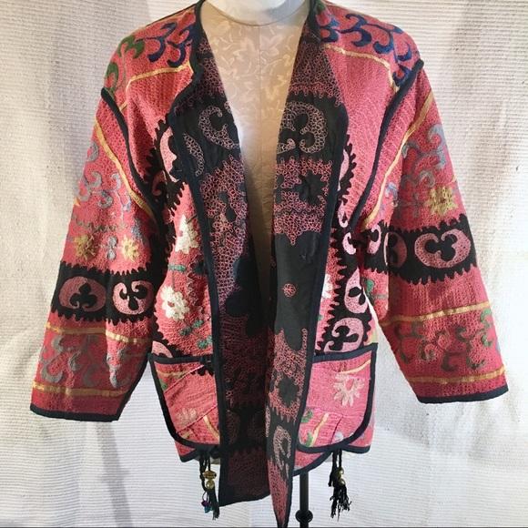 Anthropologie Jackets & Blazers - Anthro OS Boho Kilim Jacket Embroidered Reversible